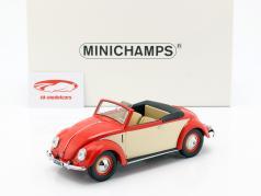 Volkswagen VW Beetle Convertible Hebmüller år 1949 rød / creme 1:18 Minichamps