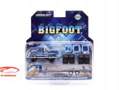 Ford F-250 Monster Truck Bigfoot ano de construção 1974 com trailer azul 1:64 Greenlight