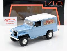 Willys Jeep Station Wagon Bouwjaar 1978 silberblau / wit 1:18 Lucky DieCast