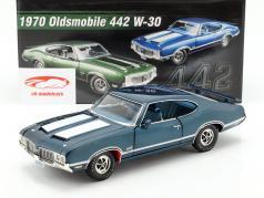 Oldsmobile 442 W-30 año de construcción 1970 azul / blanco 1:18 GMP