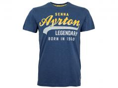 Ayrton Senna Camiseta vendimia azul
