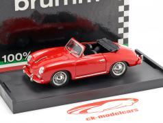 Porsche 356 Cabriolet Bouwjaar 1952 rood met zwart binnenland 1:43 Brumm