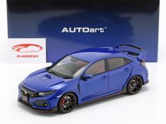Honda Civic Type R (FK8) ano de construção 2017 azul metálico 1:18 AUTOart