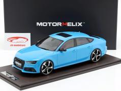 Audi RS7 Sportback Performance ano de construção 2016 azul 1:18 MotorHelix