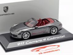 Porsche 911 (991 II) Carrera 4 Cabriolet achate grau metallic 1:43 Herpa