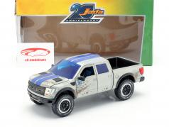 Ford F-150 SVT Raptor built in 2011 silvergrey / blue 1:24 Jada Toys