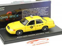 Ford Crown Victoria táxi ano de construção 2008 filme John Wick 2 (2017) amarelo 1:43 Greenlight