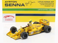 A. Senna riding on S. Nakajimas Lotus 99T #11 Italian GP F1 1987 1:18 Minichamps
