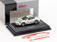 Porsche 911 (991) R ano de construção 2016 branco com verde listras 1:87 Schuco