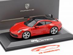 Porsche 911 (992) Carrera 2 year 2019 guards red 1:43 Minichamps