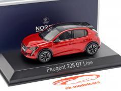 Peugeot 208 GT Line año de construcción 2019 rojo 1:43 Norev