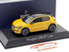 Peugeot 208 GT Line año de construcción 2019 amarillo 1:43 Norev