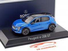 Peugeot e-208 GT Line año de construcción 2019 azul 1:43 Norev