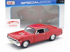 Chevrolet Nova SS Coupe ano 1970 vermelho 1:18 Maisto