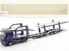 Mercedes-Benz Actros 2 1843 Truck Car transporter year 2016 blue 1:43 Eligor