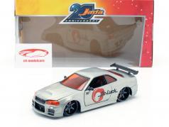 Nissan Skyline GT-R (BNR34) year 2002 silver 1:24 Jada Toys