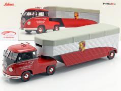 Volkswagen VW T1b Porsche løb lastbil Continental Motors rød 1:18 Schuco