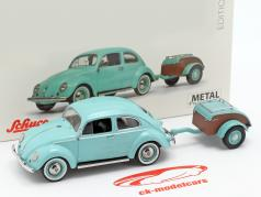 Volkswagen VW Käfer Ovali mit Westfalia-Anhänger türkis 1:43 Schuco