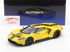 Ford GT Opførselsår 2017 triple gul med sort striber 1:18 AUTOart
