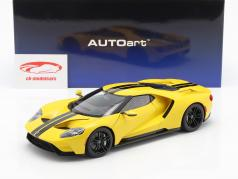 Ford GT year 2017 triple yellow with black stripes 1:18 AUTOart