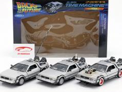 3 Car Set DeLorean DMC-12 Back to the Future Part 1-3 1985-90 1:24 Welly