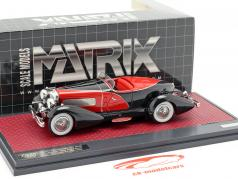Duesenberg J SWB French True Speedster door Figoni 1931 zwart / rood 1:43 Matrix