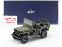 Jeep Willys ano de construção 1942 oliva verde 1:18 Norev