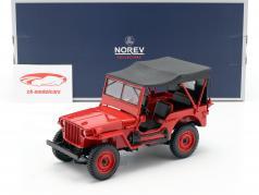 Jeep Willys ano de construção 1942 vermelho 1:18 Norev
