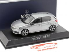 Peugeot 308 GT year 2017 artense grey 1:43 Norev