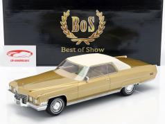 Cadillac Coupe DeVille Baujahr 1972 goldmetallic / weiß 1:18 BoS-Models