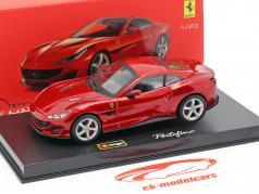 Ferrari Portofino ano de construção 2018 vermelho metálico 1:43 Bburago Signature