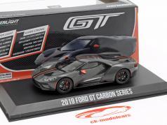 Ford GT Carbon Series 2019 cinza / preto / laranja 1:43 Greenlight
