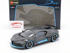Bugatti Divo Bouwjaar 2018 mat grijs / lichtblauw 1:18 Bburago