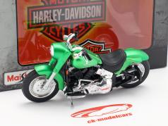 Harley-Davidson FLSTF Street Stalker Opførselsår 2000 måtten grøn metallisk 1:18 Maisto