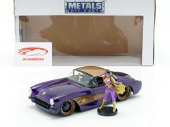 Chevy Corvette año de construcción 1957 con Batgirl DC Comics púrpura oscuro metálico 1:24 Jada Toys