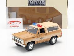 Hopper's Chevy Blazer con placa de policía series de televisión Stranger Things marrón / beige 1:24 Jada Toys