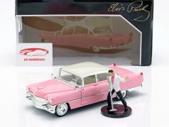 Cadillac Fleetwood ano de construção 1955 com Elvis figura -de-rosa / branco 1:24 Jada Toys