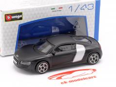 Audi R8 aborrecido preto / prata 1:43 Bburago