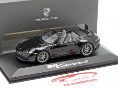 Porsche 911 (992) Carrera 4 Cabriolet zwart 1:43 Minichamps
