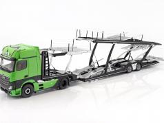 set Mercedes-Benz Actros with Lohr car transporter green / silver 1:18 NZG