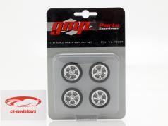 Chrome Custom Wheel and Tire Set 1:18 GMP