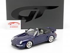 Porsche 911 (993) Turbo Cabriolet ano de construção 1995 azul escuro 1:18 GT-Spirit