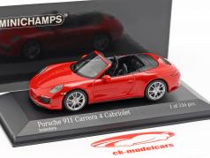 Porsche 911 (991 II) Carrera 4 Cabriolet year 2016 guards red 1:43 Minichamps