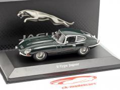 Jaguar E-Type coupe ano de construção 1961 britânico corrida verde 1:43 Atlas