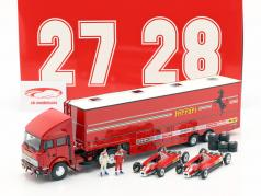 Set Race transporter Fiat Iveco 190 with 2x Ferrari 126C2 #27 & #28 Monza GP F1 1982 1:43 Brumm
