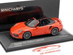 Porsche 911 (991 II) Turbo S cabriolé ano de construção 2016 lava laranja 1:43 Minichamps