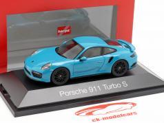 Porsche 911 (991 II) Turbo S année de construction 2016 Miami bleu 1:43 Herpa