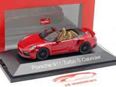 Porsche 911 (991 II) Turbo S cabriolet année de construction 2016 carmin rouge 1:43 Herpa