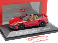Porsche 911 (991 II) Turbo S Cabriolet year 2016 carmine red 1:43 Herpa