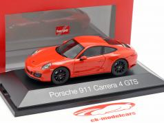 Porsche 911 (991 II) Carrera 4 GTS ano de construção 2017 lava laranja 1:43 Herpa